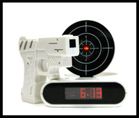 Wholesale New Novelty Desk Clock LCD Laser Gun Shooting Target Wake UP Alarm Desk Clock Gadget Fun