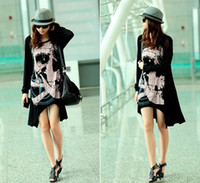 Wholesale Womens Skull Head Punk Rock Long Sleeve Dip Asymmetrical Hem T Shirt Dress Top a29