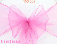 Wholesale Fuchsia NEW Wedding Party Banquet Chair Organza Sash chair sashes By Fedex or DHL Free shiping