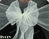 Wholesale 150 Ivory NEW Wedding Party Banquet Chair Organza Sash chair sashes By Fedex or DHL Free shiping