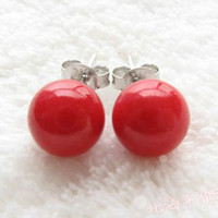 Wholesale Natural red coral earrings animal year natural coral earrings beads mm9mm10mm silver earrings
