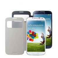 Wholesale Free DHL For Samsung galaxy S4 SIV i9500 S View Flip Leather PC Case Side Flip Fold With Open Window Color Ultrathin Cover Protector