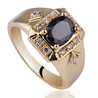 Wholesale Men Wide Cross Shape Black Onyx Gold Finish S925 Sterling Silver Ring MAN Size to R117