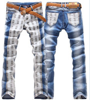 Wholesale 2013 new men fashion Appliques patchwork slim jeans brand designer long denim trousers