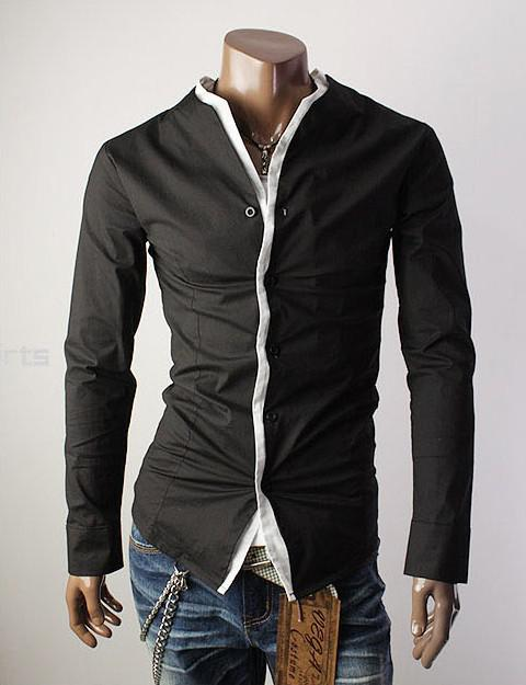 Unique design style without collar men 39 s long sleeve for Unusual shirts for men