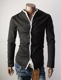 Wholesale Unique design style without collar Men s Long Sleeve Shirts Cotton Lapel Mens Shirt Slim Dress Shirts For Men Business Shirts C05