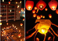 Sky Lantern Holiday Chinese Kongming lantern Love Chinese Sky Lantern with Fuel Paper Kongming Flying Wishing Lamp For Wedding Party Balloons & Lights