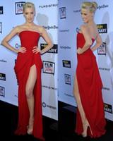 amber heard - Amber Heard The Rum Diary Premiere Red Chiffon Strapless Elie Saab Ruffles Split Clelebrity Dress