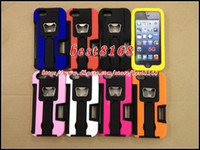 Metal For Apple iPhone For Christmas Bottle Opener Hybrid stand holster clip belt credit card slot plastic silicone hard case For iphone 5 5G skin cover cases best8168 50pcs