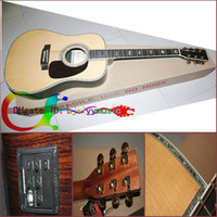 Wholesale NEW Brand acoustic Dreadnought guitar natural Solid spruce Real Abalone Binding Body Guitar Factory