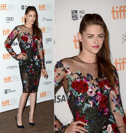 Wholesale Kristen Stewart Zuhair Murad Sheer Long Sleeves Lace Beaded Sequins Floral Celebrity Dress