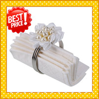 Iron ECO Friendly  Best Price! Wedding Satin Flower Napkin Ring White Ship From USA 10pcs lot 13012526