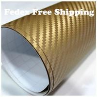 Wholesale Gold color Car wrapping Foil Vinyl Film Sticker sheet D Carbon Fiber with air channels m m Fedex