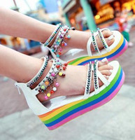 Wholesale 2013 new sandals Bohemian beaded thick bottom platform sandals bottom ms rainbow beach shoes