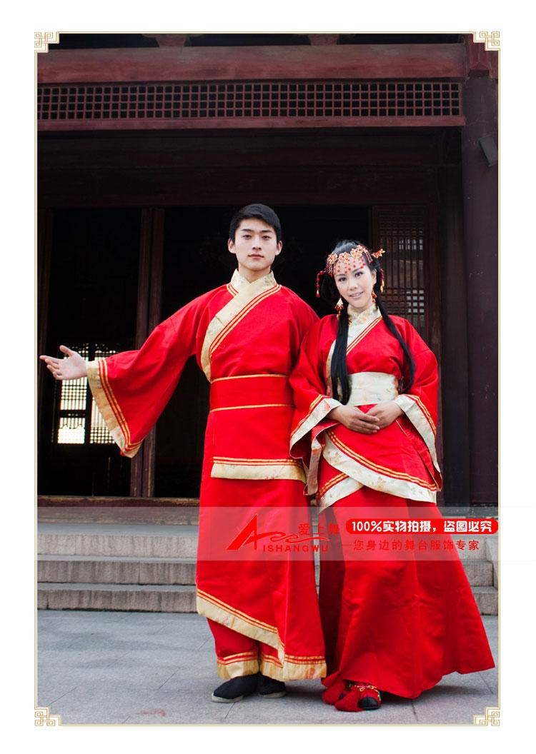 Iniduality han chinese clothing red traditional wedding dress