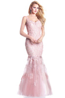 Wholesale Pink Mermaid Lace Tulle Mother Of The Bride Formal Dresses with V Neckline W024