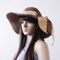 Wholesale Women s hat beach cap big along the cap summer bow dome sunbonnet large brim strawhat