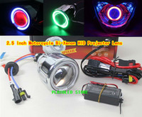 Wholesale 2 Inch Motorcycle Bi Xenon HID Projector Lens Headlight with Single Angel Eye For H1 H4 H7 Original Bulb