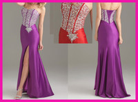 Wholesale Charming strapless split skirt beaded sheath prom dresses corset back E912