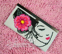 Wholesale Cross stitch wallet finished product blue beauty handmade white