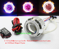 Wholesale NEW Inch Motorcycle Bi Xenon HID Projector Lens Headlight with Dual Angel Eyes