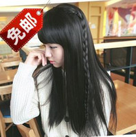 Wholesale Girls wig female long straight black wig Qi Liu