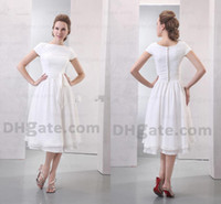 Wholesale 2013 Glamorous White Bateau Short Sleeves Tea Length Chiffon Beach Summer Bridesmaid Dresses