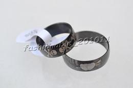 Stainless steel Rings Mixed Patterns Balck 8mm Arc Band 50pcs lot Men Women Rings R271