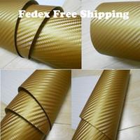 Whole Body 3d carbon fiber vinyl - Gold color Car wrapping Foil Vinyl Film Sticker sheet D Carbon Fiber with air channels Size m m m Fedex