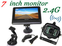 4Channel   2.4G Wireless License Back Up Reverse Car Rear View Camera 7 inch LCD Monitor Kit Weather-proof Camera