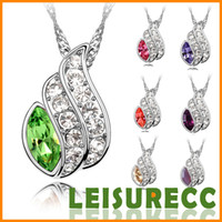 Wholesale 7Colors Austria crystal necklace fashion gemstone jewelry necklace jewelry