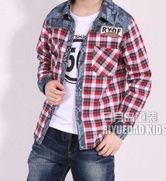 Wholesale The boy shirt piece fitted Children s long sleeved plaid shirt
