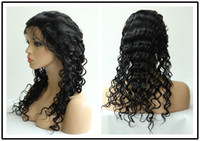 Wholesale Rani Hair Real Images Brazilian Remy Human Hair Full lace wigs DHL Free Jet Black Inch Deep Wave Quality Assurance A016