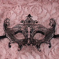 Wholesale Black Laser Cut Metal Mask Prom Masks Glitter sequins Masquerade Mask Venetian Mask Costume Mask With Rhinestone