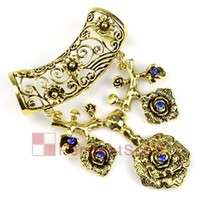 Jewelry Scarf Pendant Flowers Valentine's Day 2PCS LOT, Top Fashion Navy Blue Rhinestone Oversized Antique Bronze Alloy Necklace Scarf Flower Pendant Set Charm, Free Shipping, AC0188A