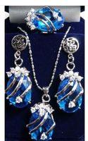 Wholesale NEW FASHION blue Zircon pendant earrings ring set