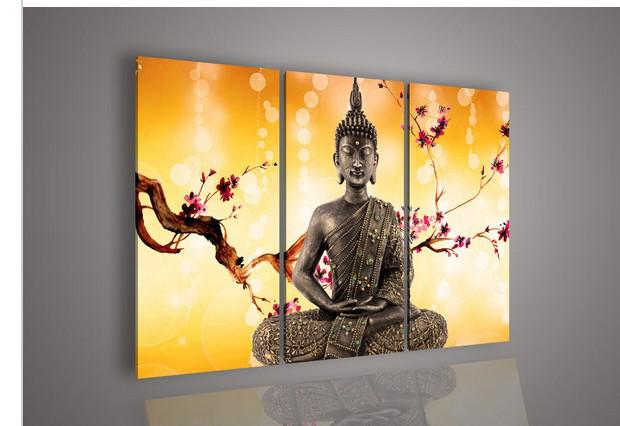 Wall art religion buddha orange oil painting on canvas for for 3 piece paintings