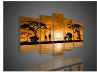 african art wood giraffes - 5 Piece Wall Art Sunset Woods The Giraffe Elephant Landscape Oil Painting On Canvas African Abstract For Home Decoration