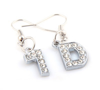 Wholesale 20Pairs New Fashion Style D One Direction Rhinestone Letters Drop Earrings Jewelry For Women