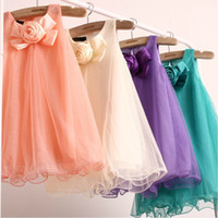 Wholesale 2013 Summer Baby Girls Dresses skirts Mesh Cotton Material Children Girls Dresses Princess Kids Dresses color