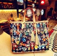 Wholesale Cheap Handbags Women Tote Bags Beijing Opera Face Print PU New Arrival B11