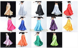 Wholesale 15pcs Shining Satin Long Spanish Skirt Swing dancing dress Belly Dance Costume colors available