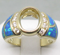 Ring Oval Cut White H-I 2.20CT SOLID 14K YELLOW GOLD DIAMOND Wedding Engagement & OPAL SETTING SEMI RING MOUNT G090468