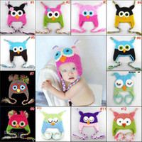 Wholesale Crochet Hats Monkey Style - 20pcs* Owl ear crochet cap monkey ear crochet cap parrot ear crochet cap baby hat Mixed style 18 colors