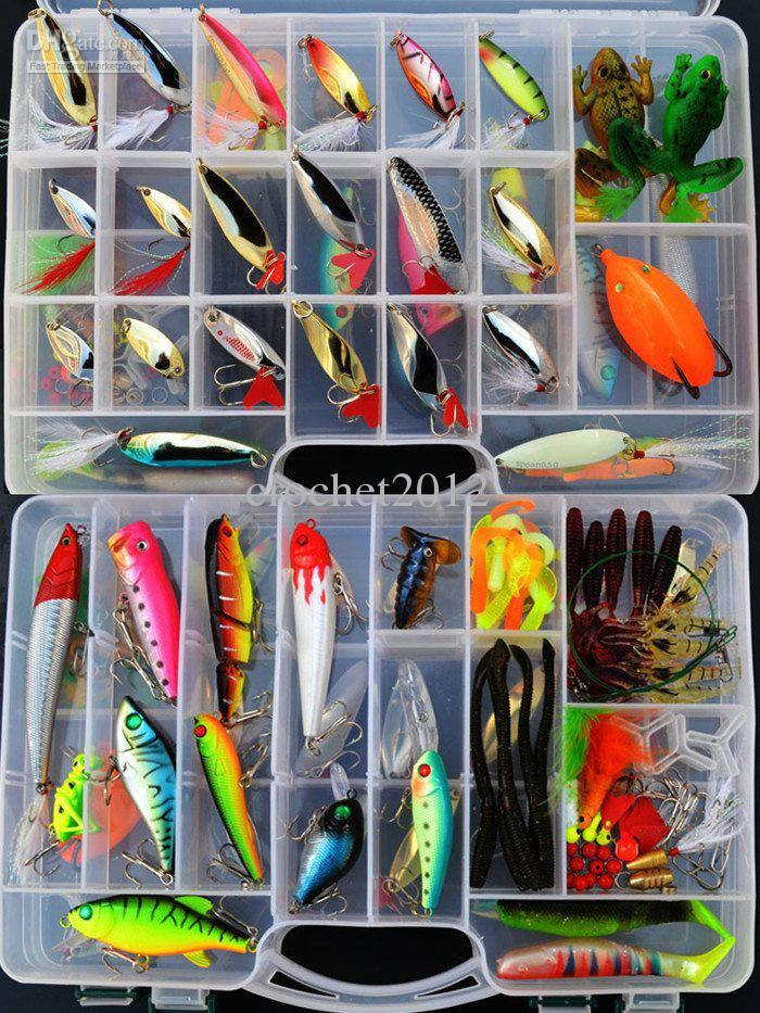 2017 wholesale 118 fishing lures set with 2 layer fishing for Wholesale fishing equipment