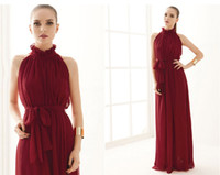 belt wine red - 2013 summer Noble Stand Collar Sleeveless A Line Chiffon wedding dresses Wine Red Floor Length With Belt Maxi Dress