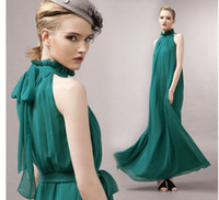 Wholesale 2013 new cool and refreshing summer A Line Stand Collar Sleeveless wedding dresses Green Color Floor Length Halter Dress