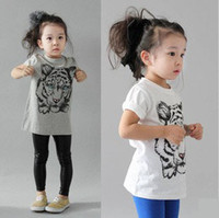 Wholesale 2013 Summer New Girls Kids Short Sleeved T shirt Kids Pure Cotton Tiger Print Tops Stylish Children Clothing Grey White Size