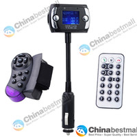 Wholesale New quot LCD Car Kit MP3 Player with Bluetooth FM Transmitter Modulator Support USB SD MMC TF