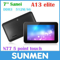 Wholesale Original Sanei N77 Fashion Tablet PC quot Capacitive Screen AllWinner A13 G M GB Android